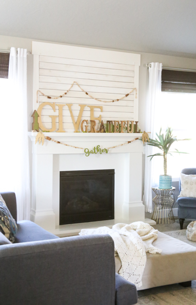 DIY Thanksgiving Mantle Decor with Pocketful of Paint and The Wood Connection
