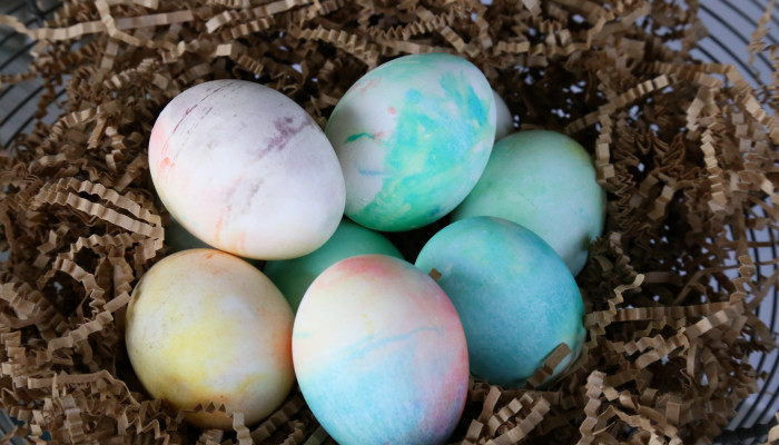 Whipped Cream Dyed Eggs