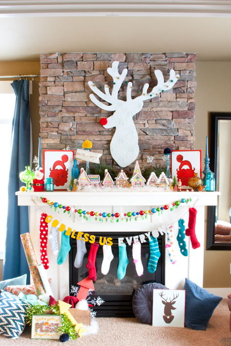 Christmas mantle and DIY rudolph
